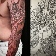 Chronic Ink Tattoo - Toronto Tattoo Samurai tattoo done by Tristen. Currently in progress.