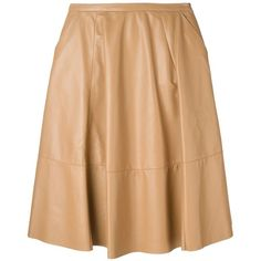 Drome Ruffle a-Line Skirt (€500) ❤ liked on Polyvore featuring skirts, brown, a line skirt, brown skirt, frilly skirt, beige skirt and leather skirt