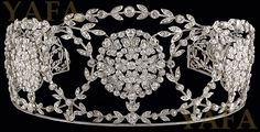 """Edwardian platinum diamond tiara. This tiara was worn by Catherine Zeta Jones on her wedding day, year 2000 at Plaza  Hotel,New York. Approx. 19cts. of diamonds Country of Origin: USA Year: 1900 Reference #: W852"" (quote) via yafajewelry.com"