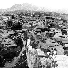 Seoul before the 1904 destruction of the Namsan castle, , installed retaining walls at the Japanese Ise Shrine