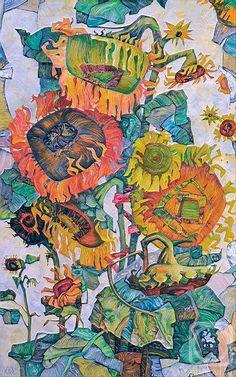 Saatchi Art: Sunflowers Painting by Tania Kugai Art And Illustration, Sunflower Illustration, Sunflower Art, Sunflower Paintings, Abstract Flowers, Painting Flowers, Botanical Art, Beautiful Paintings, Watercolor Art