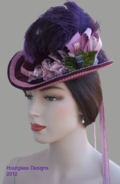 NOW SHIP TO READY trims vintage with Hat Reproduction 1800s Late Velvet Victorian