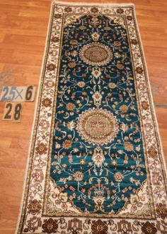 "2'6""x6' Runner Hand-knotted 200 kpsi Silk Oriental Persian Tabriz Rug 9460"