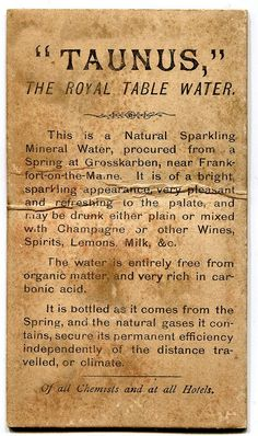 A Victorian Advertisement For Taunus Mineral Water Circa This Appeared On The Back Of Carte De Visite Photograph Taken At Negretti And