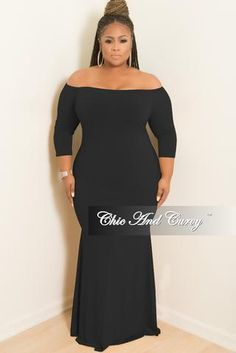 576f92bc47f Final Sale Plus Size Off the Shoulder Mermaid Dress in Black