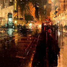"""art-and-skin: """" rhubarbes: """" Jeremy Mann - Artist """"Another Night Through Storms"""" Oil on Panel 36 x 36 inches. 2015 More art here. Urban Painting, City Painting, Oil Painting Abstract, Artist Painting, Academic Drawing, Renaissance Kunst, Urbane Kunst, Cityscape Art, City Art"""