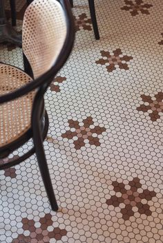 When you step into Cafe Fontaine, you're transported back to a magical time and place thanks to interior design by ACME and Co and a custom mosaic floor supplied by Olde English Tiles. Geometric Tiles, Hexagon Tiles, Mosaic Tiles, Mosaic Floors, Mosaic Bathroom, Kitchen Wall Tiles, Animal Print Rug, Victorian, English