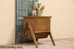 Country Pine 1890 Antique Butter Churn Table - Harp Gallery Antique Furniture