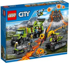 The Lego City Volcano set, includes a large volcano, truck, excavator and a number of figures and accessories.