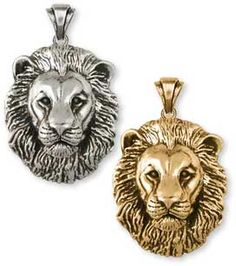 Stainless Steel Tribal Lion Oval Head Key Charm Pendant Necklace