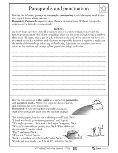 Punctuating a paragraph - The paragraph has missing capitalization and punctuation.  Revise the errors, including quotation marks.