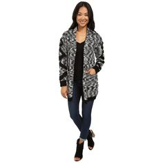 Billabong Shoreline Drive Cardigan (Black/White) Women's Sweater ($63) ❤ liked on Polyvore featuring tops, cardigans, oversized cardigan, long sleeve tops, jacquard cardigan, shawl collar open front cardigan and chunky shawl collar cardigan