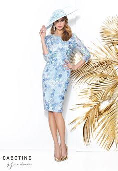 Blue embroidered lace dress & jacket available at Charisma of Fawley