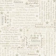 American Dreams Patriotic Fabric 100% Cotton 4th Of July Pledge Of Allegiance  #HenryGlassCo