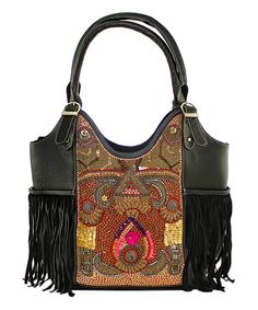 This Black & Burgundy Embroidered Fringe Leather Hobo by Vintage Addiction is perfect! #zulilyfinds
