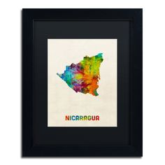 Nicaragua Watercolor Map by Michael Tompsett Framed Graphic Art