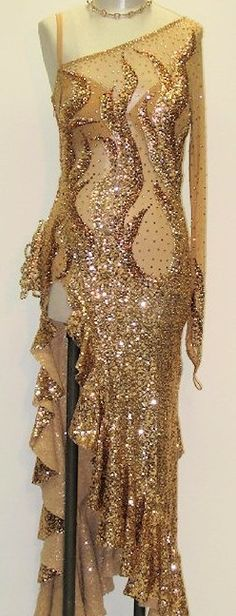 Strictly Come Dancing - Kristina Rihanoff. Peach gold sequin Latin dress for a group performance of the Rumba.