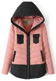 Pink Patchwork Pockets Collar With Hat Padded Coat