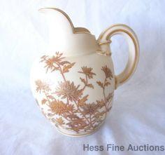 Royal Worcester Antique Porcelain Flat Bulbous Mum Pitcher ex ms rau etc 29of50