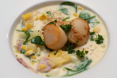 Smoked haddock chowder with seared scallops I love chunky soups, particularly in the winter; they're just so damned comforting when it's cold and miserable outside. My wife made a corn chowder a. Breaded Haddock Recipe, Simon Rimmer, Haddock Recipes, Seared Scallops, Corn Chowder, Breakfast For Dinner, Chowders, Fish And Seafood, Soups And Stews