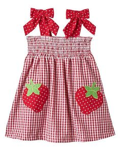Great for #summer picnics! ~ Rare Editions red gingham STRAWBERRY applique seersucker dress with bows at shoulder straps and elasticized bodice for comfort (girls sz.3m-6x)