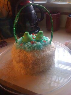 Easter basket coconut cake