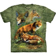 The amazingly realistic 'Red Fox Collage T-Shirt'is a masterpiece from The Mountain. This pseudo 3D t-shirt is a great gift for all fox lovers! The image is really eye-catching! You will definitely get lots of compliments! The fox tee is made from preshrunk 100% cotton and hand-dyed with eco-friendly inks in the USA. The image will not fade even after many washes. Shop now at the clothingmonster.com!