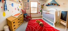 This colorful #nursery features a fun rug and canopy from @IKEA USA!