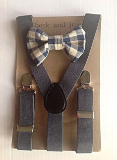 Little boys suspender and matching bow tie set by beckandjules