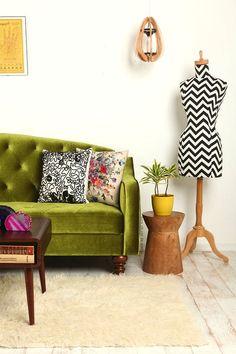 Green velvet sofa! #love #couch #velvet