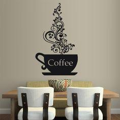 Wall Vinyl Sticker Decals Decor Art Kitchen Design Mural Coffee Curly Cup Hot (Z1791) StickersForLife
