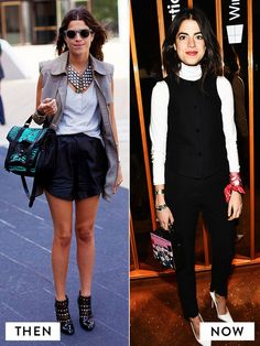 Leandra Medine of The Man Repeller style evolution from a sleeveless jacket, statement jewelry, simple t-shirt, black high-waisted shorts, and black embroidered ankle boots to a simple white turtleneck underneath a black button-down shirt, black trousers, and white pointed-toe pumps