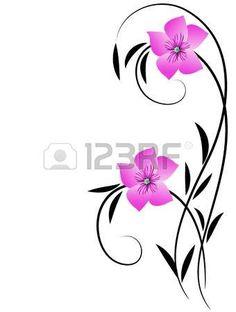 Elegance floral ornament for greeting card