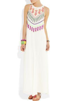Mara Hoffman|Medicine Wheel embroidered jersey maxi dress|NET-A-PORTER.COM