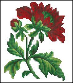 grafico gratis punto de cruz en pdf para bordar flores rojas