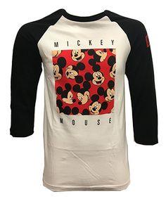 NEFF Men's Disney X Smile Mickey Mouse Raglan 3/4 Sleeve T-Shirt, Black/White - NEFF x Disney Collaboration - Disney Style Fashion