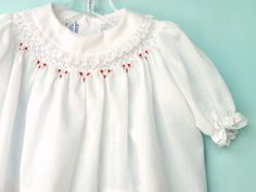 Vintage Polly Flinders White  Infant Valentine's Dress /Top with Smocking and Embroidery Newborn/ 0-3 Months