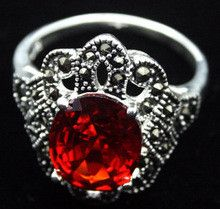 Free shipping >>>>>> RARE STERLING SILVER(925)RED RUBY MARCASITE JEWELRY RING SZ 7/8/9/10