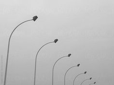 Black and white image of light posts outside Chicago airport. Captured with iPhone. by Robert Zaleski