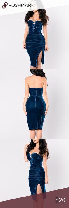 1ce4586846dec Fashion Nova Dresses Strapless. Blue velvet dress from Fashion Nova BRAND  NEW! Brand new