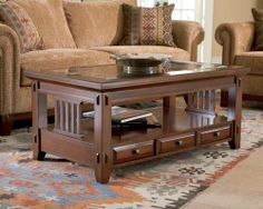 Vantana Rectangular Coffee Table in Red-Brown by Broyhill. $348.59. Shelf. 3 drawers. Glass insert. 4986-001 Features: -Three drawers.-Shelf.-Glass insert. Construction: -Constructed of cherry veneers and Poplar solids. Color/Finish: -Red-Brown finish. Dimensions: -Overall Dimensions: 21'' H x 48'' W x 28'' D.