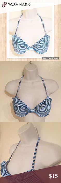 Aerie Striped Ruffle Push Up Bikini Top Aerie blue and white striped Push Up bikini top. Size 34B. Fully adjustable. The underwire has gone a little pink but you can't see it while wearing. #aerie #americaneagle #aeo #americaneagleoutfitters #striped #ruffled #pushup #bikini #top #swim #beach #springbreak #summer #vacation #punkydoodle  No modeling Smoke free home I do discount bundles aerie Swim Bikinis