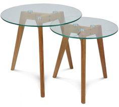 Mesa NAIROBI-NIDO, 2 mesas, baja, madera, cristal