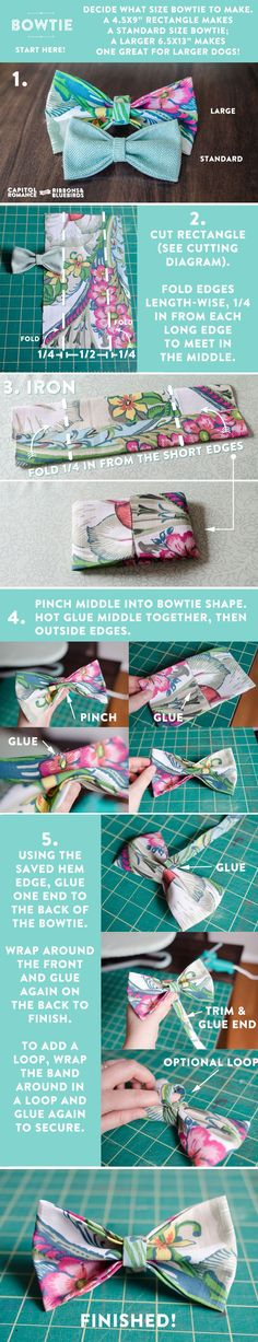 DIY Tutorial: How to Make a Bowtie from a Fabric Napkin Capitol Romance ~ Real DC Weddings Fabric Crafts, Sewing Crafts, Sewing Projects, Dog Crafts, Sewing Diy, Diy Dog Collar, Diy Bebe, Dog Bows, Fabric Bows