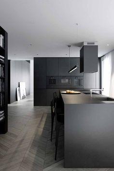 Kuchnia na wymiar w czarnym kolorze Masculine Home Decor, Kitchen Sponge, Furniture Chairs, Home Decor Furniture, Furniture Design, Beautiful Interior Design, Beautiful Interiors, Chair Pillow, Pillows