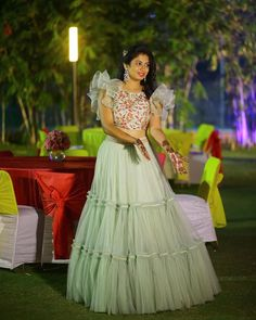 Tejaswi Narra stuns in her custom made outfit from  Brook collection. Beautiful pista gree color frills lehenga and designer blouse with hand embroidery thread work.   14 March 2018