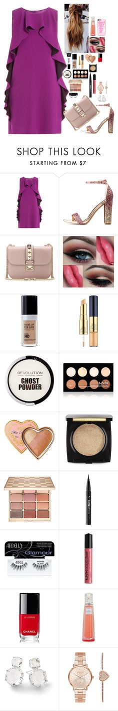 """Untitled #1833"" by azra-99 on Polyvore featuring Boutique Moschino, Charlotte Russe, Valentino, L'Oréal Paris, Estée Lauder, NYX, Too Faced Cosmetics, Lancôme, Stila and Kat Von D"