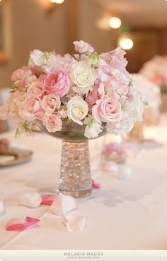 pink reception wedding flowers, wedding decor, wedding flower centerpiece, wedding flower arrangement, add pic source on comment and we will update it. can create this beautiful wedding flower look. White Flower Centerpieces, Small Centerpieces, Wedding Flower Arrangements, Wedding Centerpieces, Wedding Table, Floral Arrangements, Wedding Bouquets, Wedding Decorations, Decor Wedding