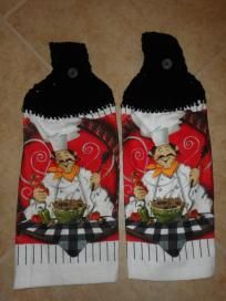 Happy Italian Chef Kitchen Decor Hanging Hand Towels Proceeds Support Troops