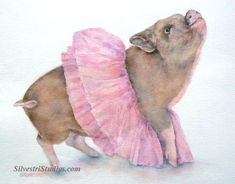 This pig watercolor is available as a cute art print and greeting cards.  Perfect for the pig art nursery and farrmhouse decor!  To view more animal art by Teresa Silvestri, visit www.SilvestriStudios.com